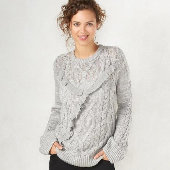 8b7dc5b2d0 LC Lauren Conrad Sweaters - Lauren Conrad Gray Ruffle Front Sweater Large